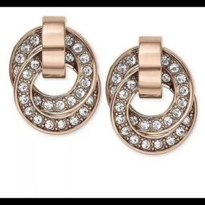 Michael Kors Brilliance pave gold tone earrings